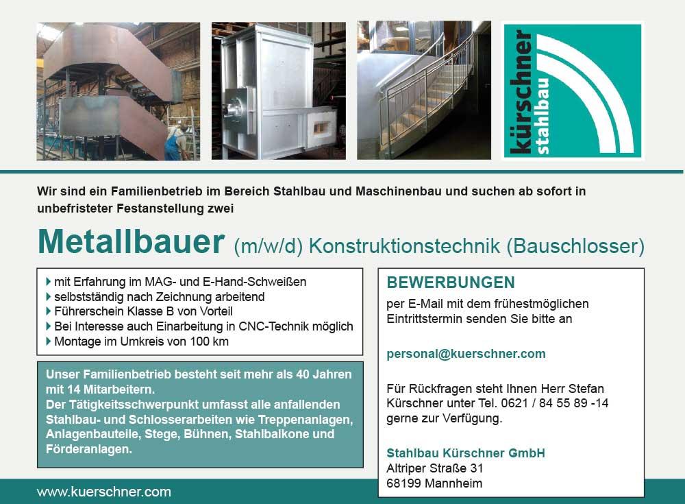 Wir suchen ab sofort in unbefristeter Festanstellung 2 Metallbauer m/w/d  Konstruktionstechnik (Bauschlosser)
